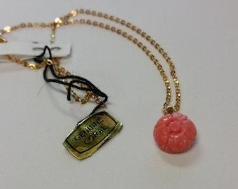 Vintage 1970s Genuine Coral Flower Necklace