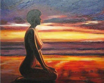 Meditation on the beach, sunset  oilcolour on canvas,   60x60cm