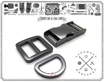 Gunmetal Curved Side Release Buckle with Slide Adjuster Buckle and D Ring Strap Bag Belt Collar Set