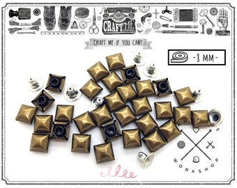 100PCS 8MM ANTIQUE Brass SQUARE DOME Pyramid Rivets Stud Nailhead.