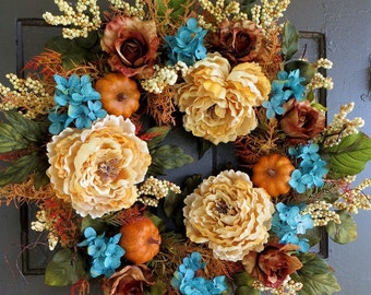 Fall Wreaths, Pumpkin Wreath, Autumn Wreath, Hydrangea Wreath, Thanksgiving