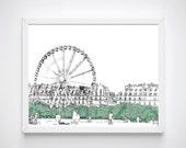 Printable Paris Illustrations, Paris Sketch of Louvre Gardens,  Paris Drawings, Paris Art Prints, Paris France, Black and White Sketches,