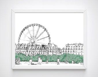 Paris Wall Art, Paris Room Decor, Sketch Print, Paris Art Print, Instant Download, Paris Decor, Paris Art Work, Paris Wall Decor,