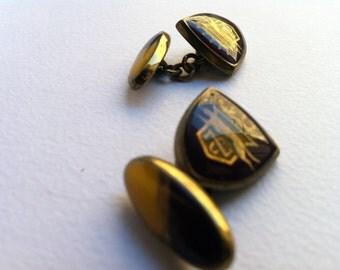 Vintage cufflink late edwardian, araldic jewels, man accessories-vintage Twins late Edwardian, heraldic jewelry, men