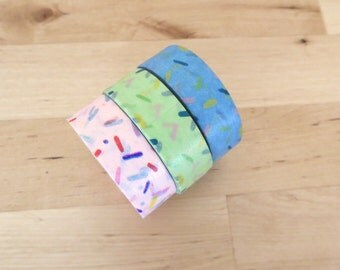 Sprinkle Washi 15mm  Pink Blue Green - Roll Donut Cupcake