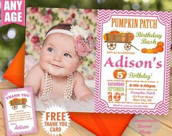 Pumpkin patch birthday invitation thanksgiving fall invite Photo Photograph pumpkin first rustic Pink Orange Girl woodland hayride Fall26/29