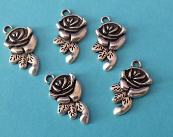5 Antiqued Silver Long Stemmed Rose Charms | 2007