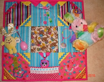 NEW Easter Bunny Fidget Tactile Sensory Quilt Blanket for Alzheimer's stroke autistic dementia anxiety brain trauma pt