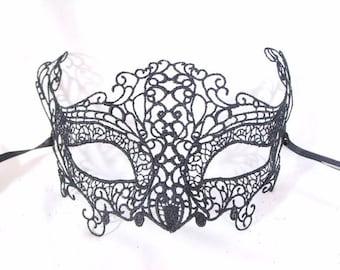 Black Macrame Venetian Masquerade Mask