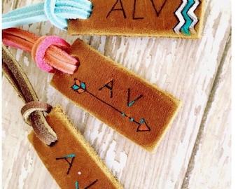 Personalized Leather Luggage Tag: Custom Luggage Tag, Groomsman Gifts, Wedding, Beach, Nautical, Destination Wedding