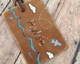 Vintage Luggage Tag - Custom Leather Luggage Tag - Personalized Luggage tag - Initials leather luggage tag - airplane tag