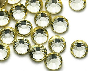 144pcs Bling High Quality Wholesale Pack Silver Back FlatBack Crystals Glass Rhinestones Gems Size ss6 ss8 ss10 ss12 ss16 ss20-Light Yellow