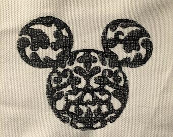 Damask Hidden Mickey Head Embroidery pattern