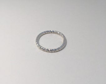 Sterling Silver Diamond Cut Stacking Ring.