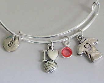I LOVE SOCCER / Soccer Shirt  Bangle Bracelet  W/ A Birthstone / Initial Charm Drops / Under Twenty / Usa SP1