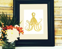 Octopus Print Gold Foil Wall Art home Decor Nautical Print Sea Life