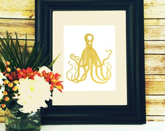 Octopus Print, Gold Foil, octopus art print, beach print, sea creature nursery, home Decor, sea creature, Nautical Print, Sea Life