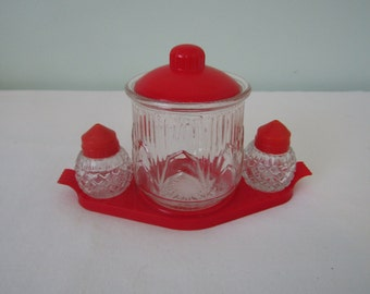Vintage Medco New York Art Deco Glass & Red Plastic Condiment Set w/ Sugar Dish Salt Pepper Shakers
