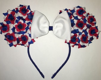Red, White and Blue Flower Ears
