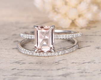 6×8mm Emerald Cut Morganite Ring,Emerald Cut Morganite Ring Set,Morganite Engagement Ring,Thin Diamond Wedding Matching Band,Bridal Set