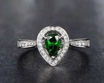 Tear Shape Tsavorite Garnet Ring Tsavorite Diamond Pave Ring Green Garnet Ring Water Drop Tsavorite Ring Halo Tsavorite Ring Pear Shape Ring