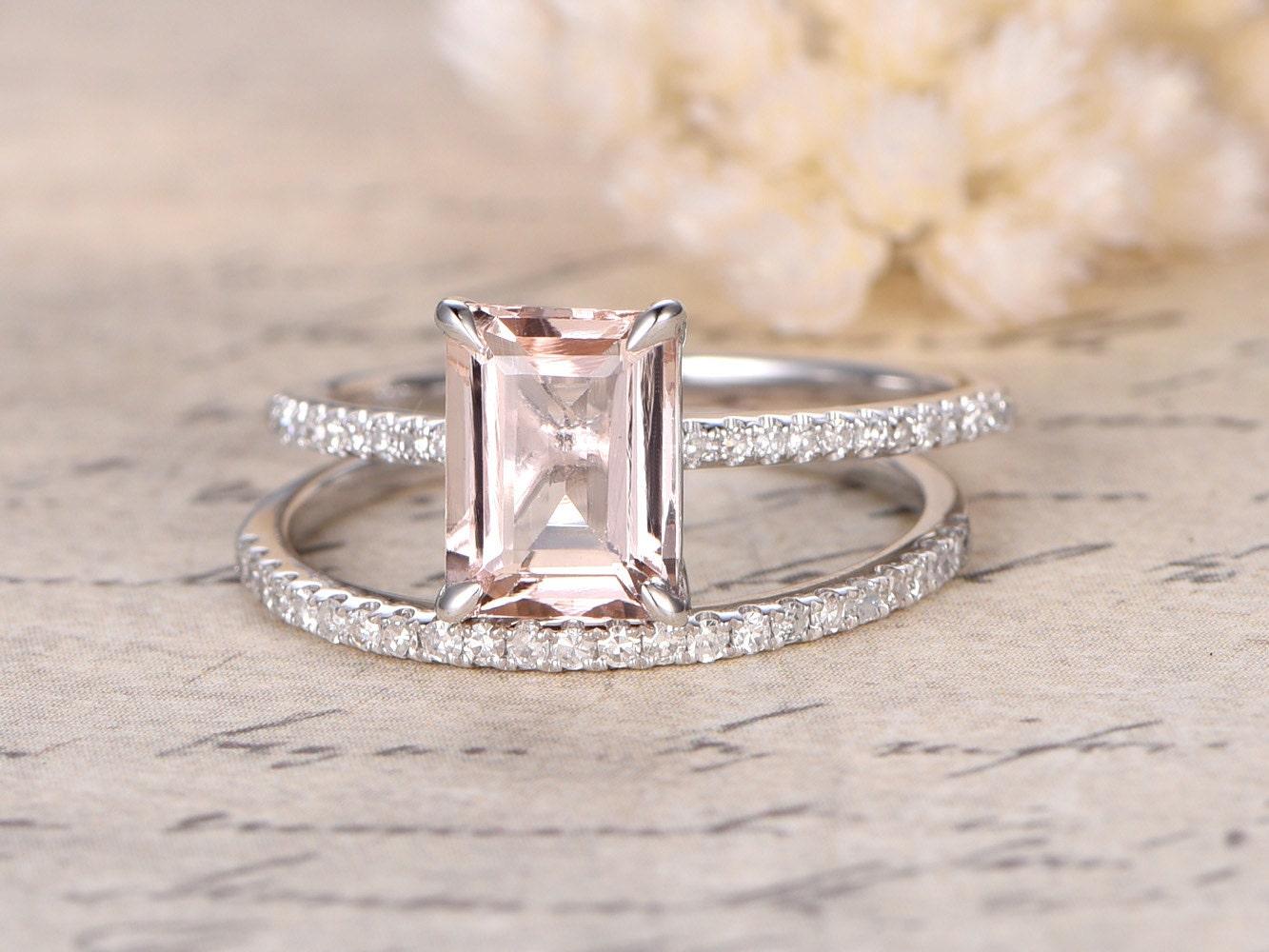 68mm Emerald Cut Morganite Ringemerald Cut Morganite Ring