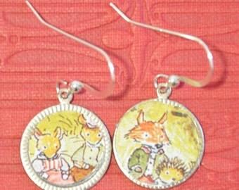 Tin Earrings - Handmade jewelry - fox