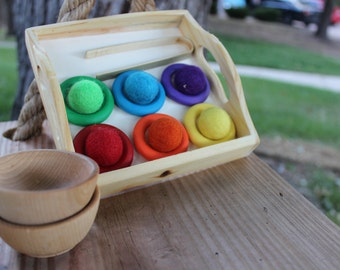 Color Matching Sorting Game Rings - A Waldorf and Montessori inspired toy - Waldorf Toy - Montessori Toy - Toddler - Learning