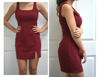 50% OFF everything in shop---Vintage 80's Aqua Blues Burgundy Party Dress Size Small or Medium
