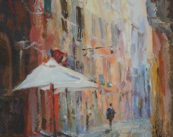 Angel Lumier, original acrylic on Panel, original acrylic painting on panel, cityscape, Venice, Italy