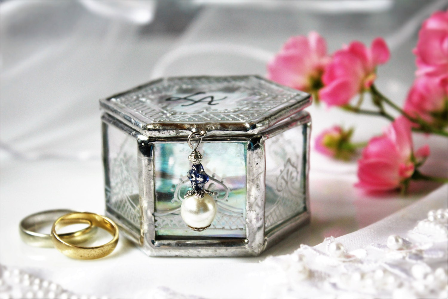 custom engagement ring box glass wedding ring box with pearl