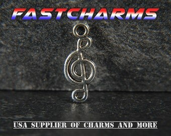 TREBLE CLEF CHARMS, 5/20 pcs, 11x15mm, Antique Silver, music charms, music notes, fastcharms, charms for bracelets, band charms (YB18H)