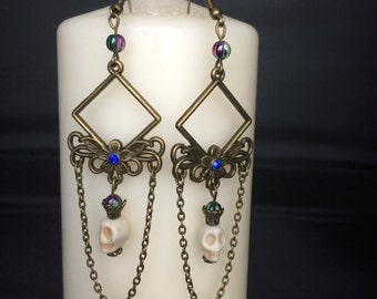 dangle earrings art deco skull and chains