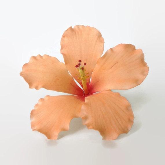 Hibiscus Sugar Flower in Peach tones for wedding cake topper, tropical wedding, diy brides, summer weddings, showers, and birthdays