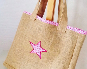 Bag burlap and fabric geometric.