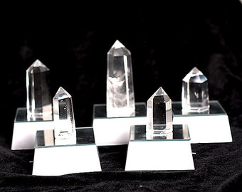 Natural Clear Quartz Point With Led Stand