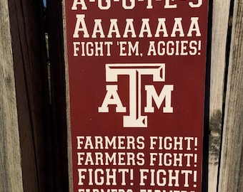 Texas A&M Yells Typography Subway Art Hand Painted Sign