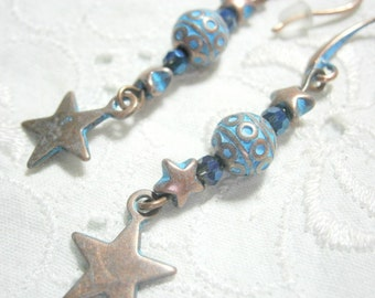 Earrings copper blue patina , copper earrings bright blue , copper earrings star patina blue , turquoise earrings copper , Hippie , Gypsy