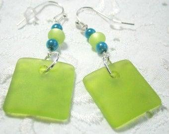 Sea glass earrings , green turquoise glass earrings , light green sea glass , glass earrings, sea glass earrings green turquoise, sea colour