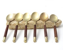 Brass Spoons - Brass Tea Spoons - Brass and Teak Tea Spoons - Brass Serving - Vintage Spoons - Boho - Country Kitchen Style