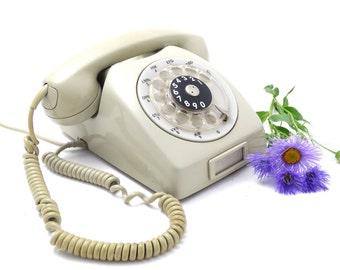Vintage Rotary Phone - Kirk F68 Telephone - Vintage Telephone - 1960s Retro Telephone - Gray Telephone - Retro Cabinet Decor - Denmark Phone