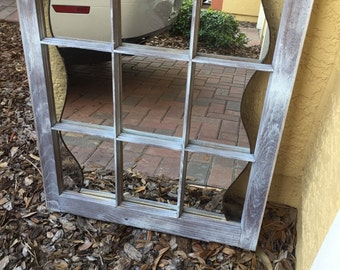 Mirror - Old window frame with mirror and stained glass accent