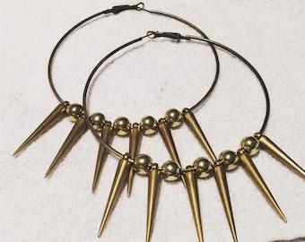 Hoop earrings, spike earrings, gold hoop earrings, gold spike earrings, rocker earrings, gold hoop spike earrings, womens gift, earrings