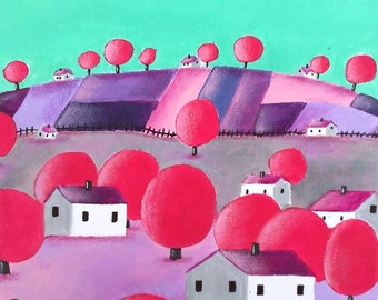 Landscape - modern landscape with trees and houses painted by hand