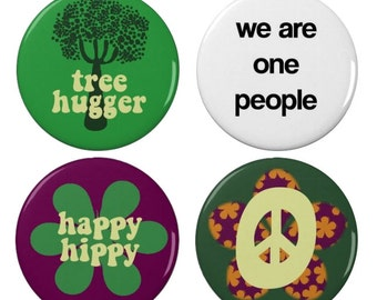 Hippie/Hippy Badge Set - Tree Hugger - Happy Hippy - Peace  - Protest Badge/Magnet - Anti War - Activism - Peaceful - Pacifist