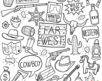 Wild West Cowboy Farwest Western Adventure Objects Doodle Icons Clipart Scrapbook Set
