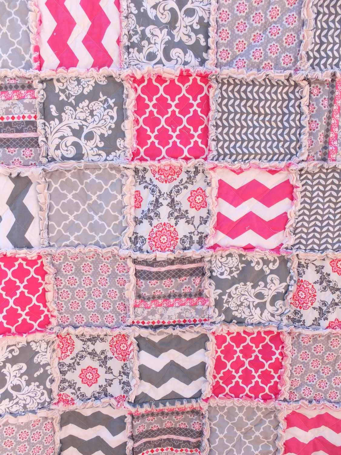 Rag Quilt Patterns For Twin Bed : Pink and Gray Twin Rag Quilt Girls Twin Sized Quilt Pink