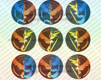 Pokemon Go House Divided Mixed Teams VALOR INSTINCT MYSTIC 1in circles(Bottle Cap images, birthday favors, bows necklaces, craft project)