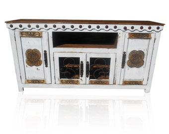 72 inch hi end White tv stand with Flower scroll on doors rustic design