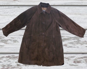 Vintage Womens Xargo London Real Suede Dark Brown Coat Button Front 18